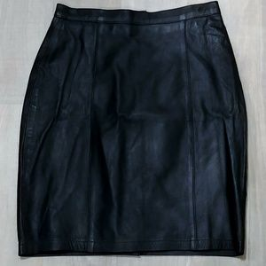 Vtg Genuine Leather Black Pencil Lined Skirt S